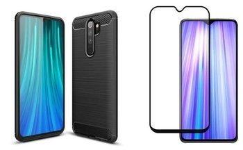 Etui Pancerne KARBON Xiaomi Redmi NOTE 8 PRO czarny +szkło 5D
