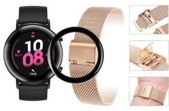 Opaska pasek bransoleta Milanese band z zapięciem Huawei Watch GT 2 42mm rose gold + szkło 5D