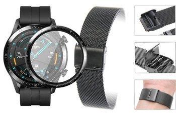 Opaska pasek bransoleta Milanese band z zapięciem Huawei Watch GT 2 46MM czarna +szkło 3D