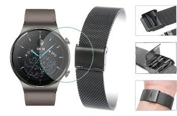 Opaska pasek bransoleta Milanese band z zapięciem Huawei Watch GT 2 PRO 46mm czarna +szkło hartowane na ekran