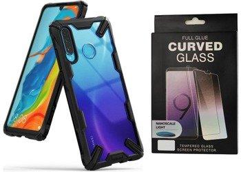 Ringke Fusion X etui pancerny pokrowiec z ramką Huawei P30 Lite czarny (FXHW0017) +szkło 5D UV