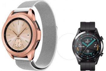 TECH-PROTECT MILANESE opaska pasek bransoleta BAND Huawei Watch GT 2 46mm SILVER +szkło hartowane na ekran