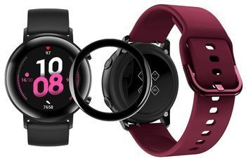 opaska pasek bransoleta GEARBAND Huawei Watch GT 2 42MM bordowa + szkło 5D
