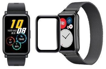 opaska pasek bransoleta MILANESEBAND Huawei Watch FIT czarna +szkło 5D
