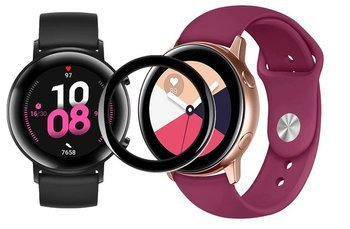 opaska pasek bransoleta SMOOTHBAND Huawei Watch GT 2 42MM bordowa + szkło 5D