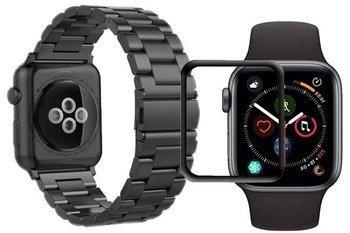 opaska pasek bransoleta STAINLESS STEEL Apple Watch 4/5 40mm BLACK +szkło 5D
