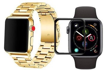 opaska pasek bransoleta STAINLESS STEEL Apple Watch 4/5 44MM GOLD +szkło 5D