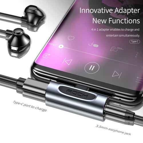 Adapter 2 w 1 USB Typ C do Audio i Ładowania ROCK Wersja A Metal szary