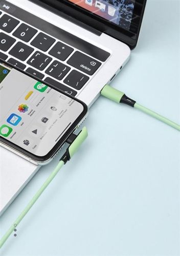 Baseus Colourful kątowy kabel przewód z bocznym wtykiem USB Typ C PD 18W - Lightning 1,2m zielony (CATLDC-A06)