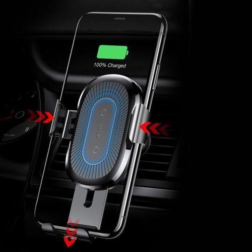 Baseus Wireless Charger Gravity uchwyt samochodowy na kratkę wentylacyjną + bezprzewodowa ładowarka Qi srebrny