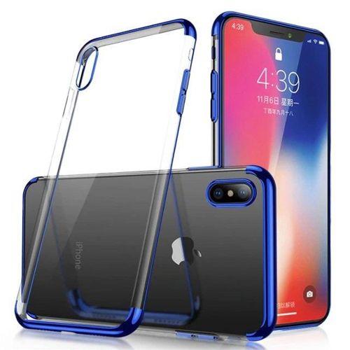 Clear Color case żelowy pokrowiec etui z metaliczną ramką Huawei P30 Lite niebieski
