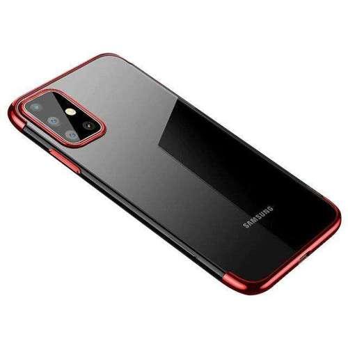 Clear Color case żelowy pokrowiec etui z metaliczną ramką Samsung Galaxy A41 czerwony