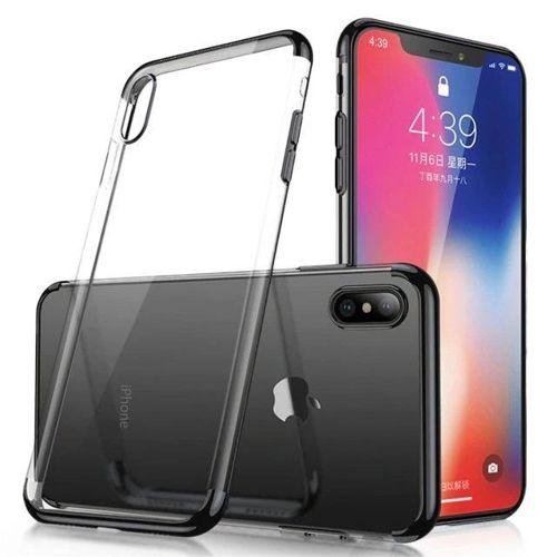 Clear Color case żelowy pokrowiec etui z metaliczną ramką Samsung Galaxy A70 czarny