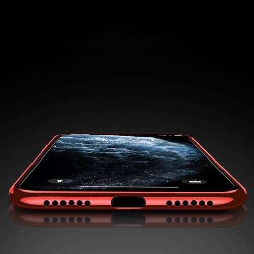 Clear Color case żelowy pokrowiec etui z metaliczną ramką iPhone 11 czerwony