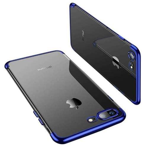 Clear Color case żelowy pokrowiec etui z metaliczną ramką iPhone 8 Plus / iPhone 7 Plus niebieski