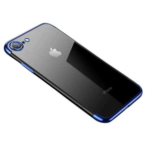 Clear Color case żelowy pokrowiec etui z metaliczną ramką iPhone SE 2020 / iPhone 8 / iPhone 7 niebieski