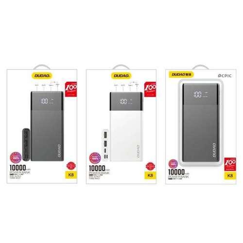 Dudao 2x USB power bank 10000mAh 2A ekran LED czarny (K8 black)