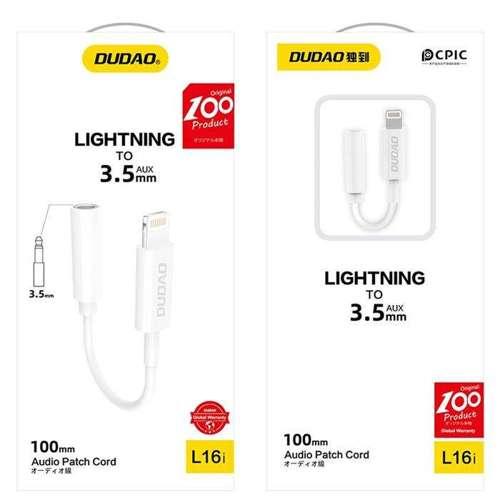 Dudao adapter audio przejściówka do słuchawek z Lightning na mini jack 3,5 mm biały (L16i white)