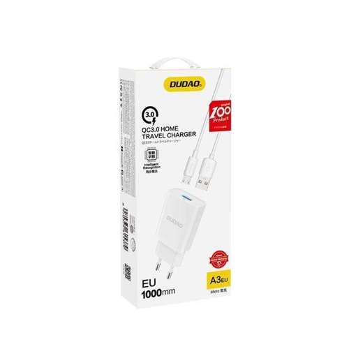 Dudao ładowarka sieciowa EU USB 5V/2.4A QC3.0 Quick Charge 3.0 + kabel przewód micro USB biały (A3EU + Micro white)