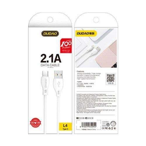 Dudao przewód kabel USB Typ C 2.1A 1m biały (L4T 1m white)