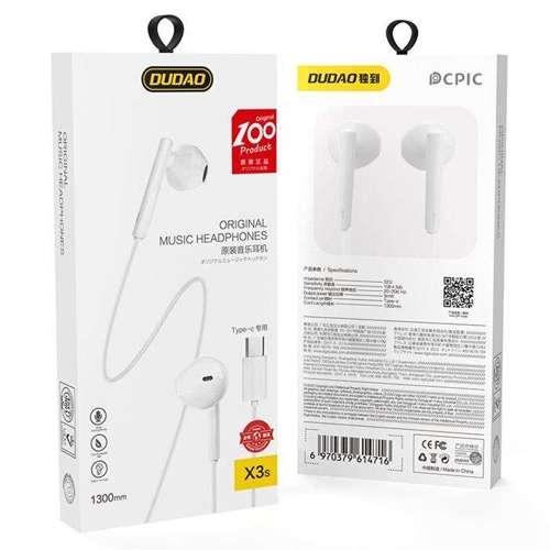 Dudao przewodowe słuchawki douszne USB Typ C z pilotem biały (X3S white)