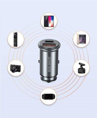 Dux Ducis PPS ładowarka samochodowa USB / USB Typ C Power Delivery QC / SCP / FCP / AFC 30W 5A srebrny (B50)
