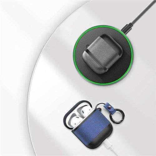 Dux Ducis etui na słuchawki Apple AirPods 2 / AirPods 1 z ekologicznej skóry niebieski