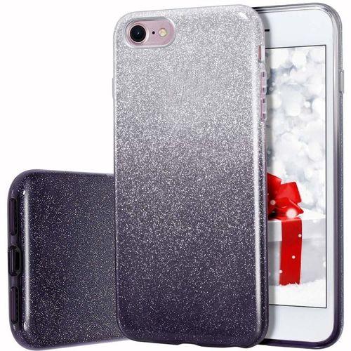 Etui Brokat Glitter  IPHONE 7+ Plus srebrno-czarne