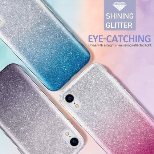 Etui Brokat Glitter LG Q60 srebrno-różowe