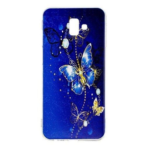 Etui Slim Art SAMSUNG J6+ J6 PLUS niebieski/ złoty motyl