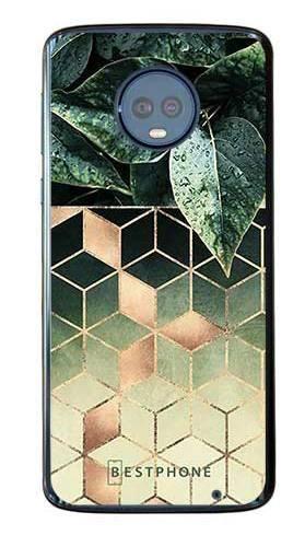 Etui geometryczna roślina na Motorola Moto G6 Plus