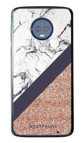 Etui marmurowy brokat na Motorola Moto G6 Plus