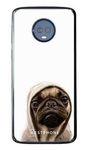 Etui mops na białym tle na Motorola Moto G6 Plus