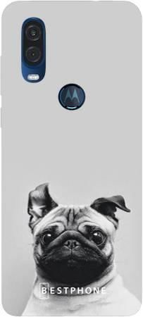 Etui mops na szarym tle na Motorola MOTO ONE VISION
