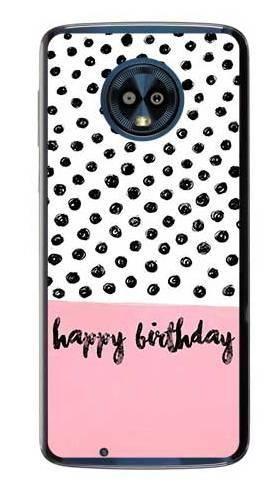 Etui na urodziny happy birthday kropki na Motorola Moto G6