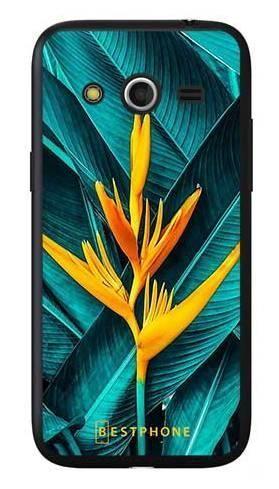 Etui żółty kwiat i liście na Samsung Galaxy Core LTE