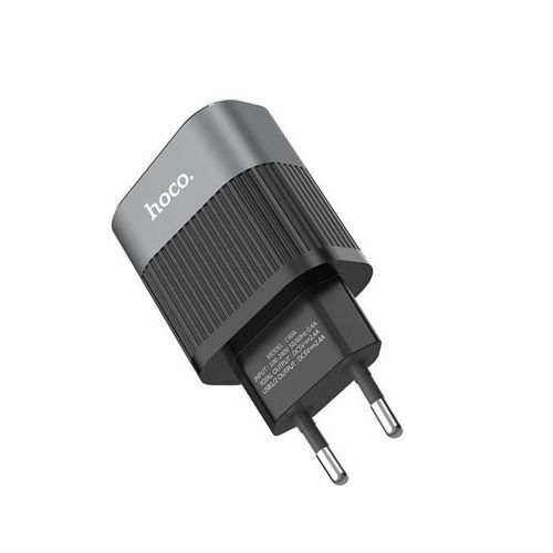 HOCO C40A LED 2-PORT NETWORK CHARGER BLACK