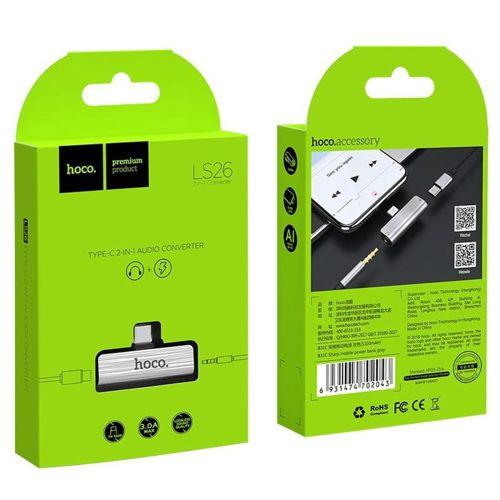 HOCO LS26 Adapter przejściówka 2w1 Typ-C typ c + gniazdo słuchawkowe mini jack 3,5mm srebrny