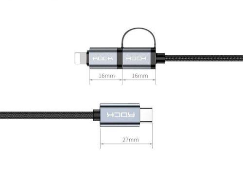 Kabel 2 w 1 USB Typ C do USB Typ C + Lightning ROCK Metal czarny
