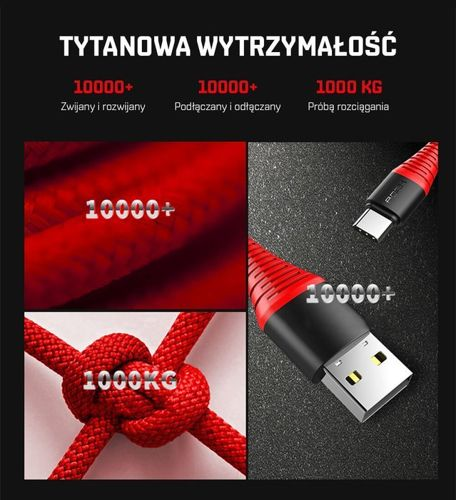 Kabel WZMACNIANY ROCK SPACE Micro USB 1.2m czarny