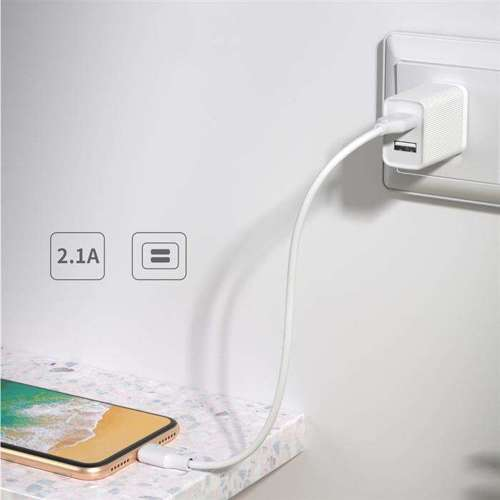 Kingkong ładowarka sieciowa adapter EU 2x USB 2.1A + kabel micro USB 1m biały (WP-U79m white)