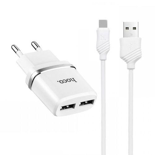 Ładowarka sieciowa HOCO C12 2xUSB + Kabel USB Typ C biała