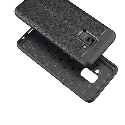 Litchi Pattern elastyczne etui pokrowiec Samsung Galaxy A8 2018 A530 czarny