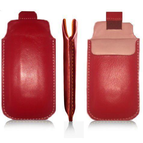 Pionowa skórzana wsuwka Vena IPHONE 4 czerwona