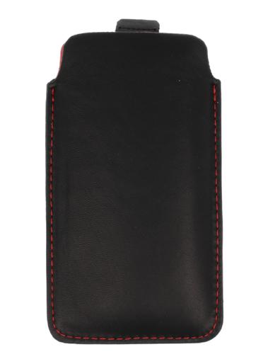 Pionowa skórzana wsuwka Vena NOKIA N500 czarna (czerwony środek)