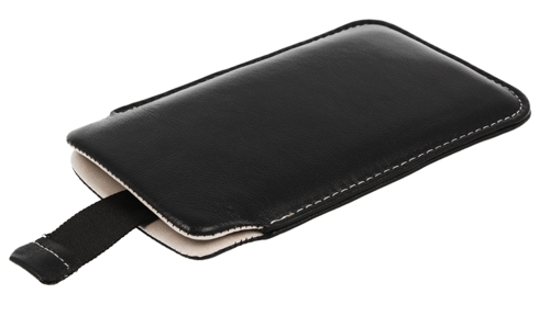 Pionowa skórzana wsuwka Vena SAMSUNG I9000/NOKIA N610 czarna (biały środek)
