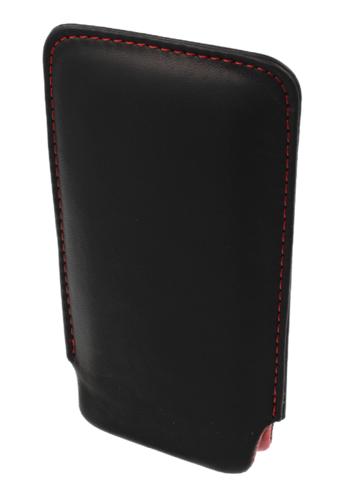 Pionowa skórzana wsuwka Vena SONY XPERIA X8 czarna (czerwony środek)