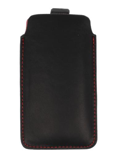 Pionowa skórzana wsuwka Vena pull IPHONE 4G czarna (czerwony środek)