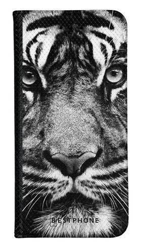 Portfel Wallet Case LG K40 czarno biały tygrys