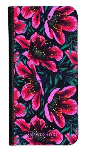Portfel Wallet Case LG K40 różowo czarne kwiaty